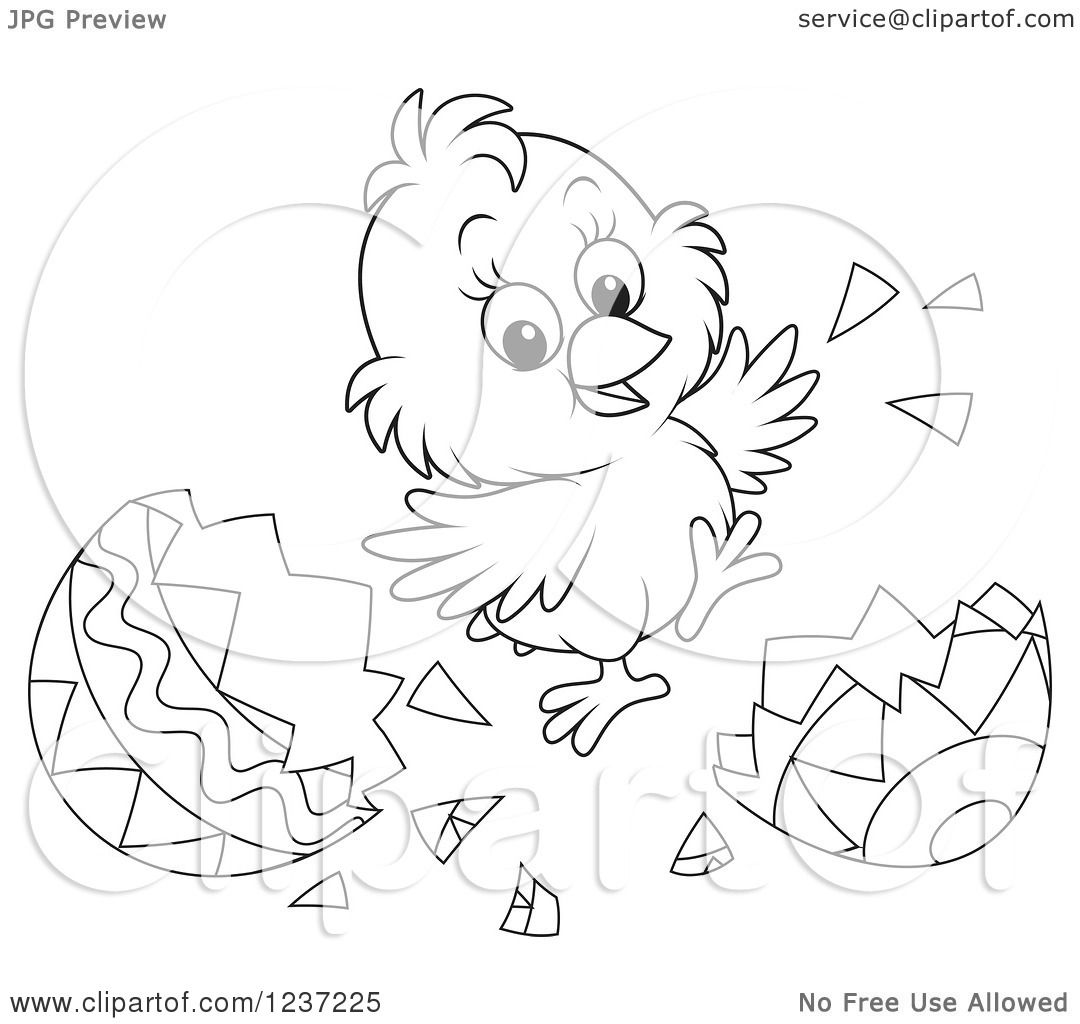 Clipart Of An Outlined Happy Easter Chick Jumping And