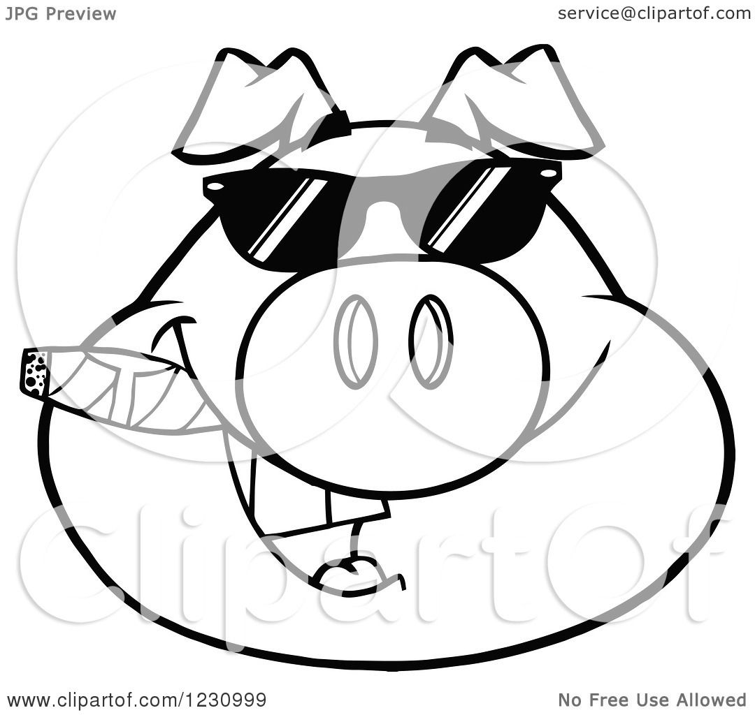 Clipart Of An Outlined Pig Head With A Cigar And