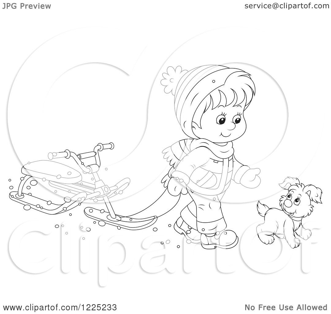 Clipart Of An Outlined Puppy And Boy Walking With A Sled