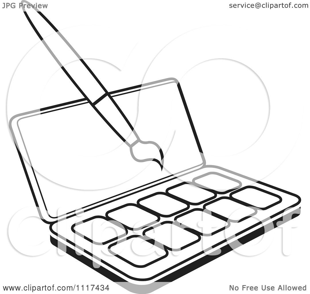 Clipart Of An Outlined Watercolor Paint Kit And Brush
