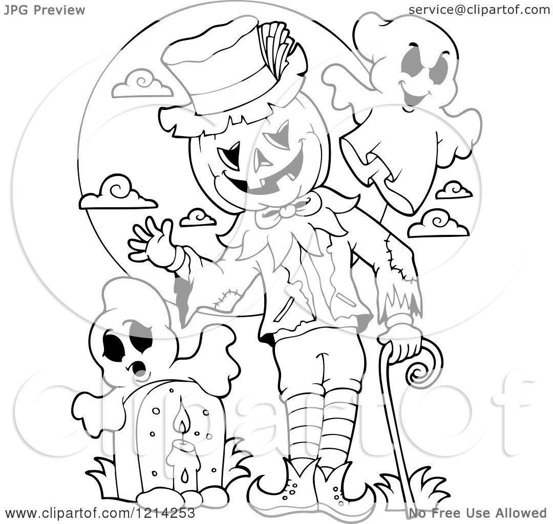 Clipart Of An Outlined Waving Halloween Jackolantern Man