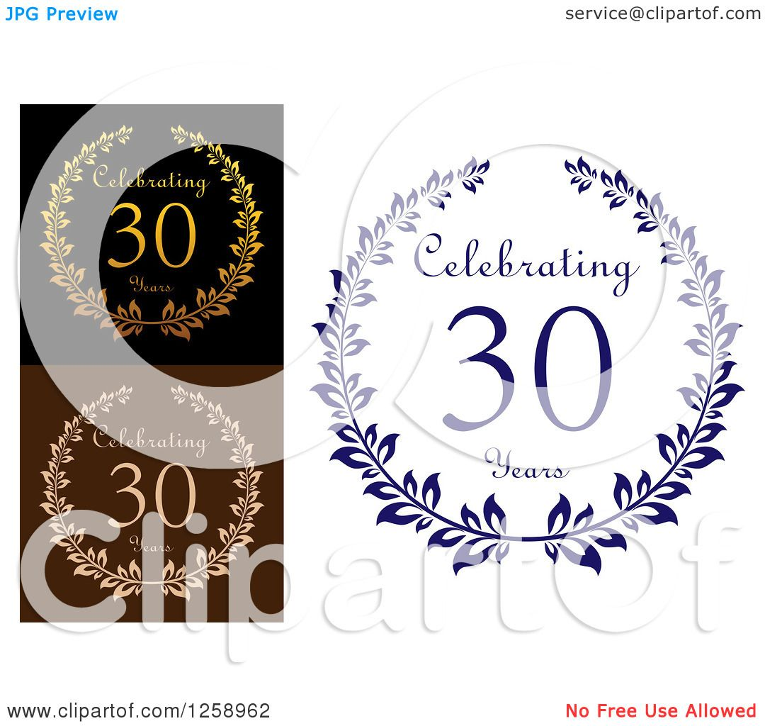 Download Clipart of Anniversary 30 Years Designs - Royalty Free ...