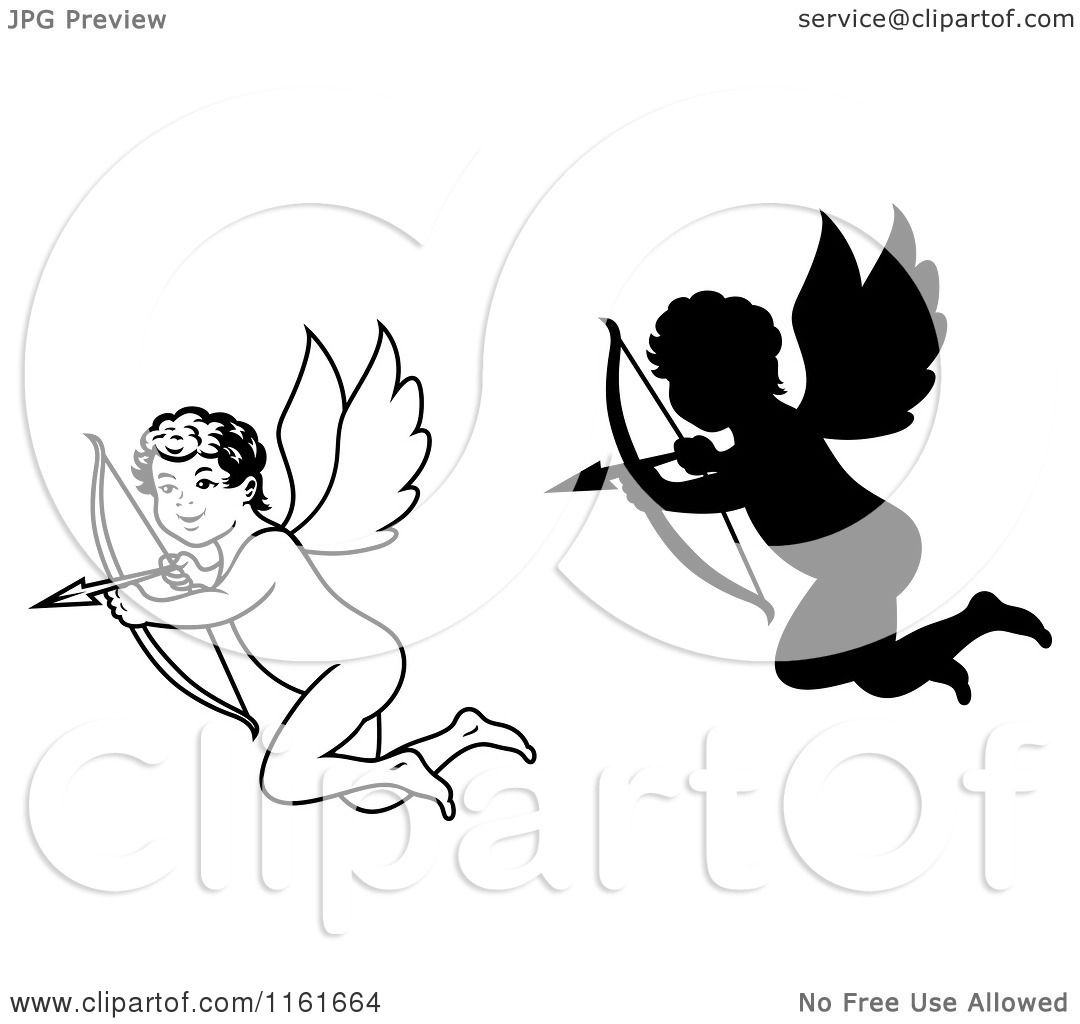 Clipart Of Black And White And Silhouetted Cupids Aiming
