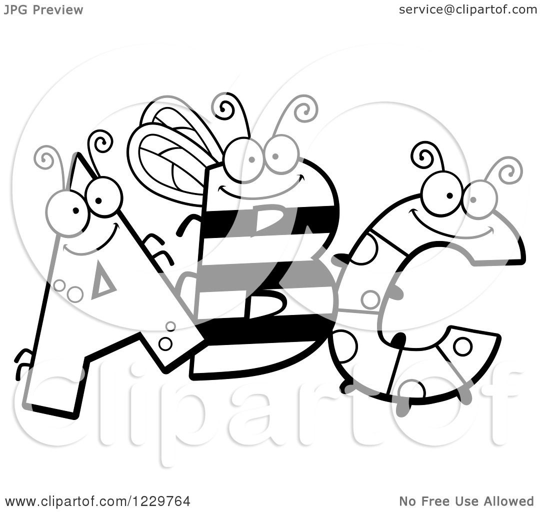 Clipart Of Black And White Ant Bee And Caterpillar Letters