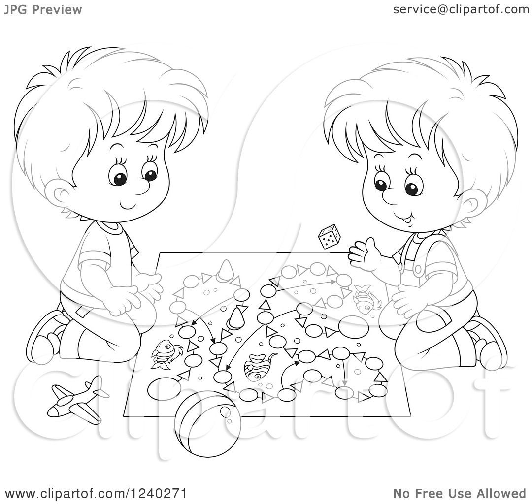 Clipart Of Black And White Boys Playing A Board Game