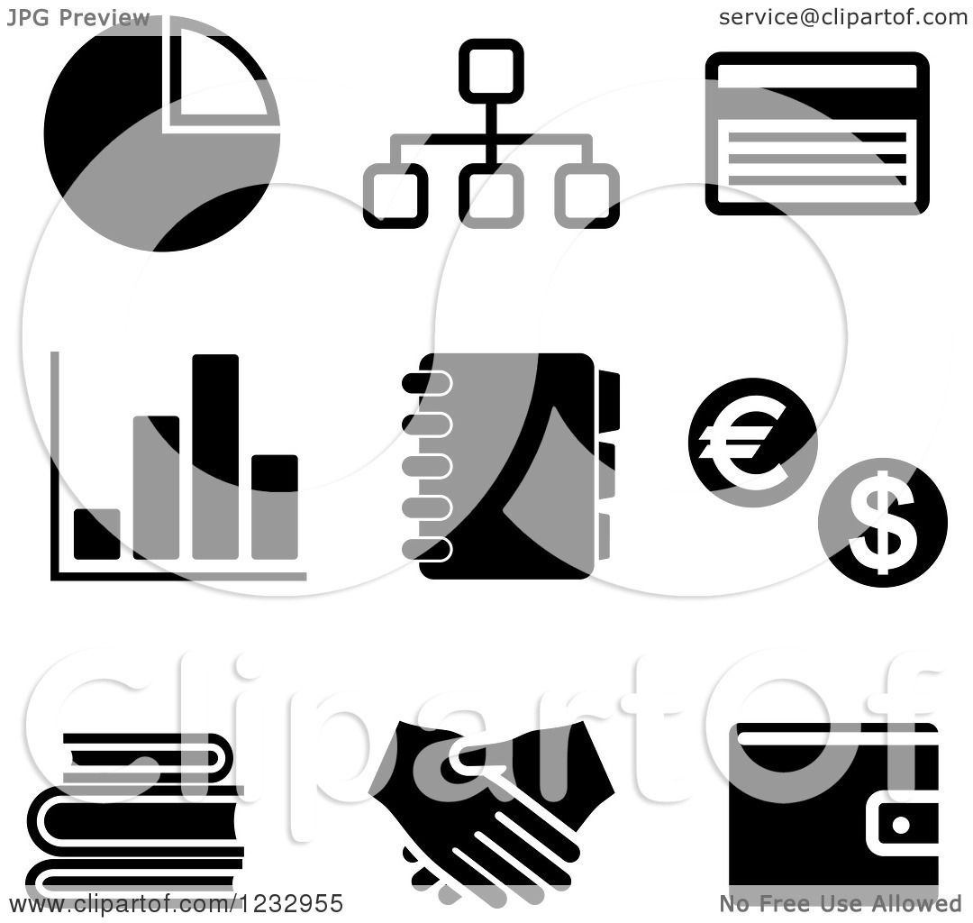 Clipart Of Black And White Business Icons 2
