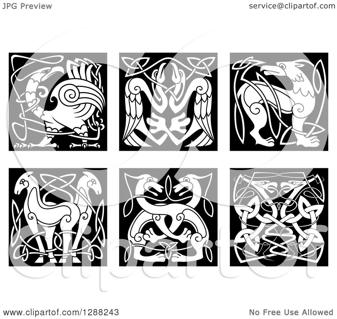 Clipart Of Black And White Celtic Knot Animals