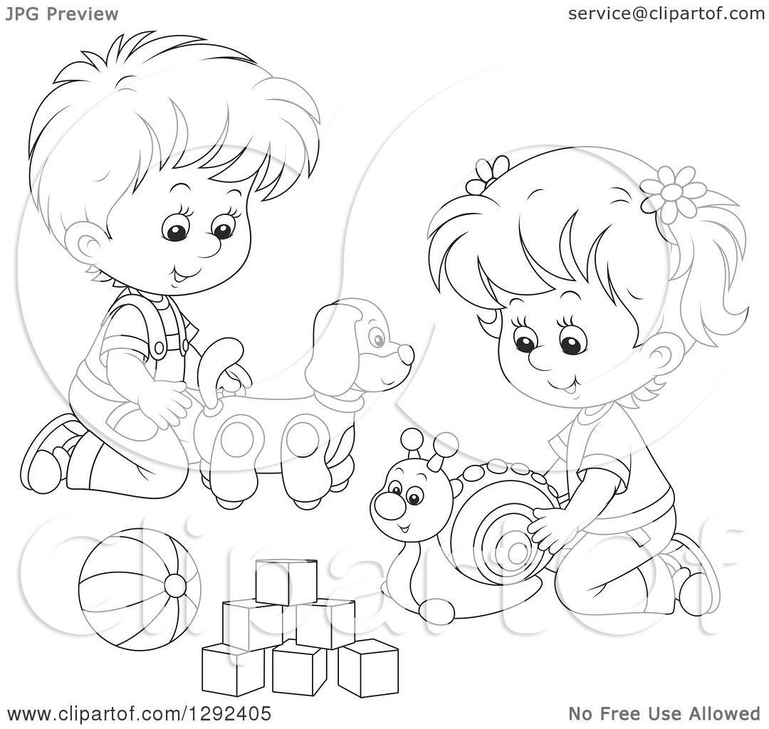 Clipart Of Black And White Children Playing With A Toy Dog