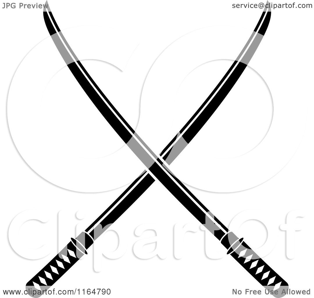 Clipart Of Black And White Crossed Katana Swords