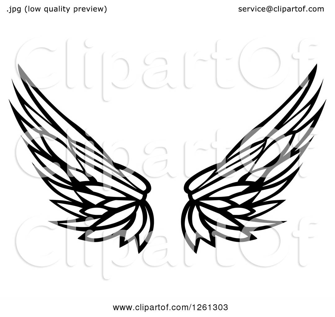 Clipart Of Black And White Feathered Wings