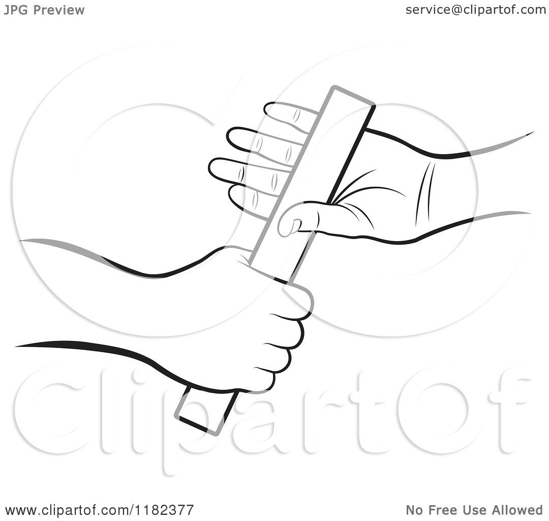 Clipart Of Black And White Hands Passing A Relay Race