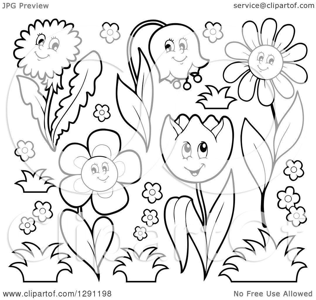 Clipart Of Black And White Happy Cartoon Flower Characters