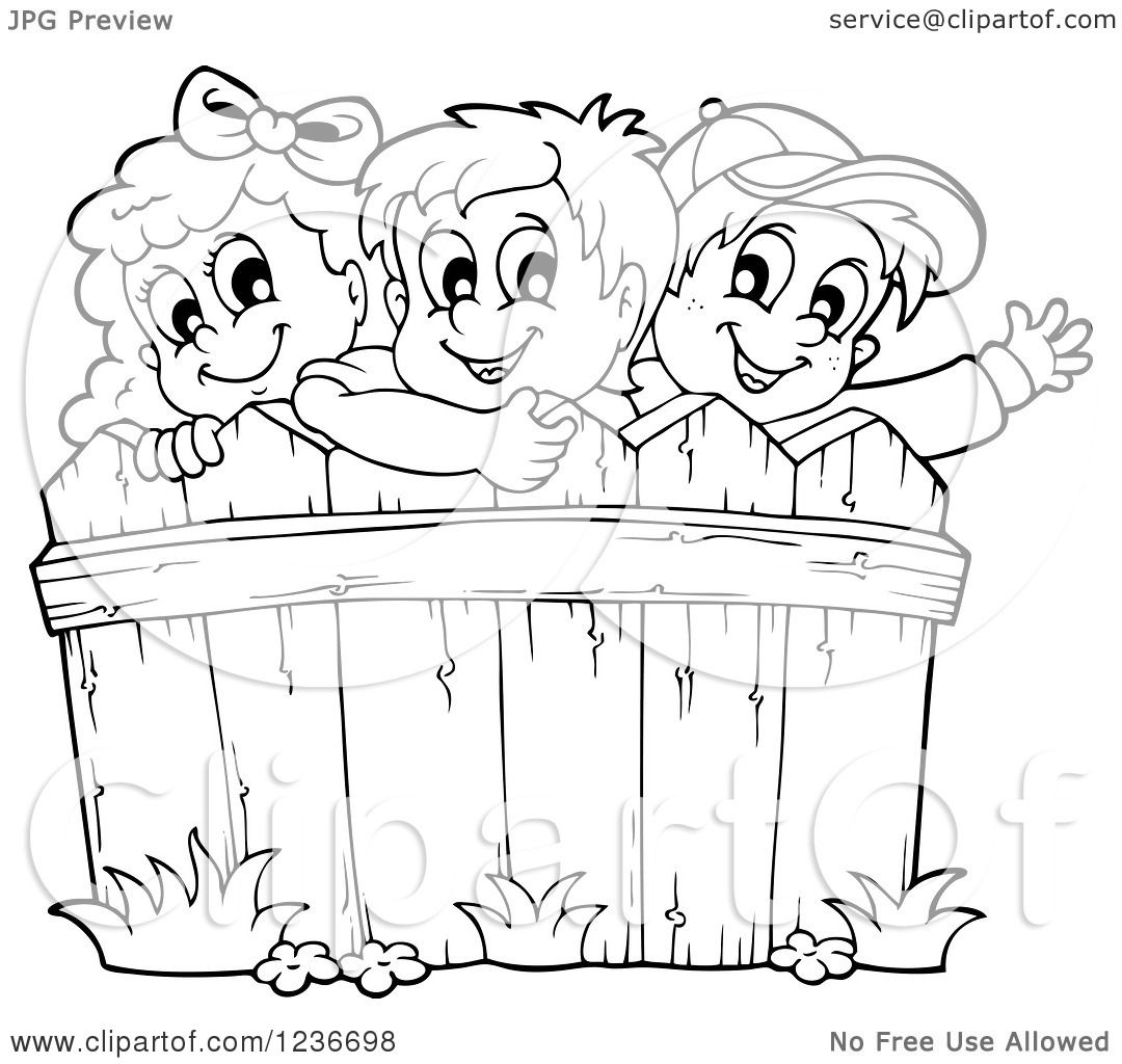 Clipart Of Black And White Happy Children Looking Over A