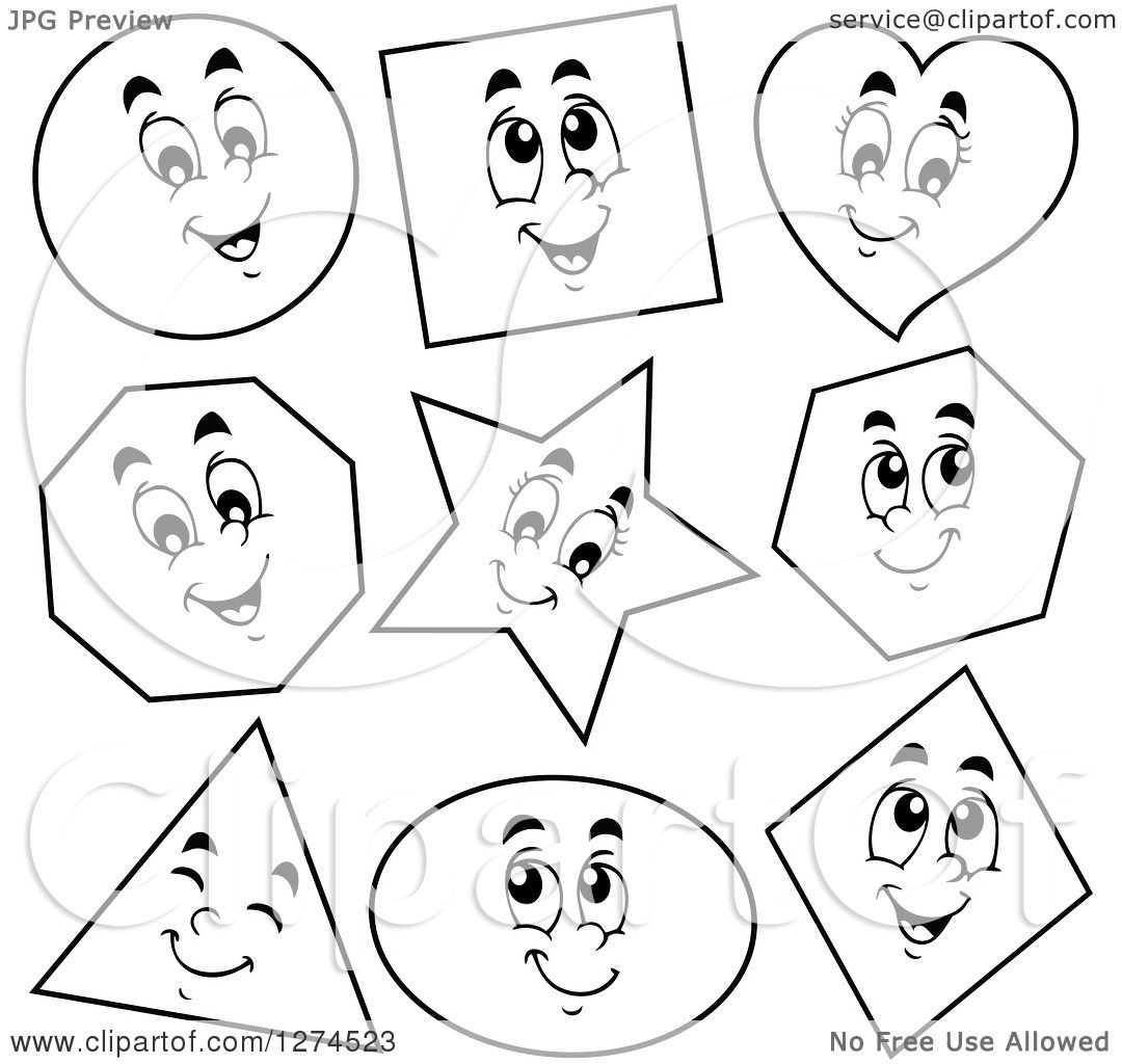 Clipart Of Black And White Happy Shapes
