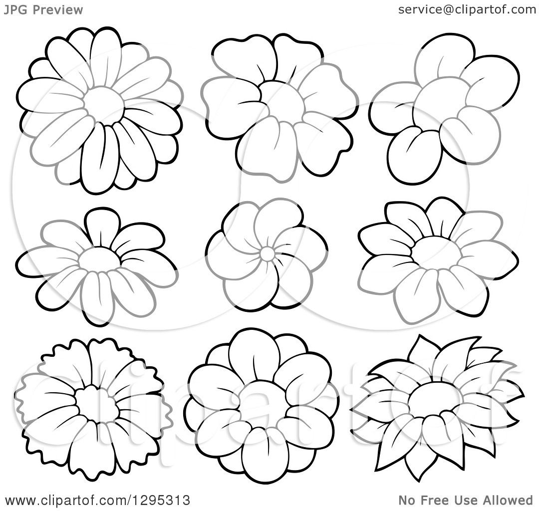 Clipart Of Black And White Lineart Spring Flower Blooms