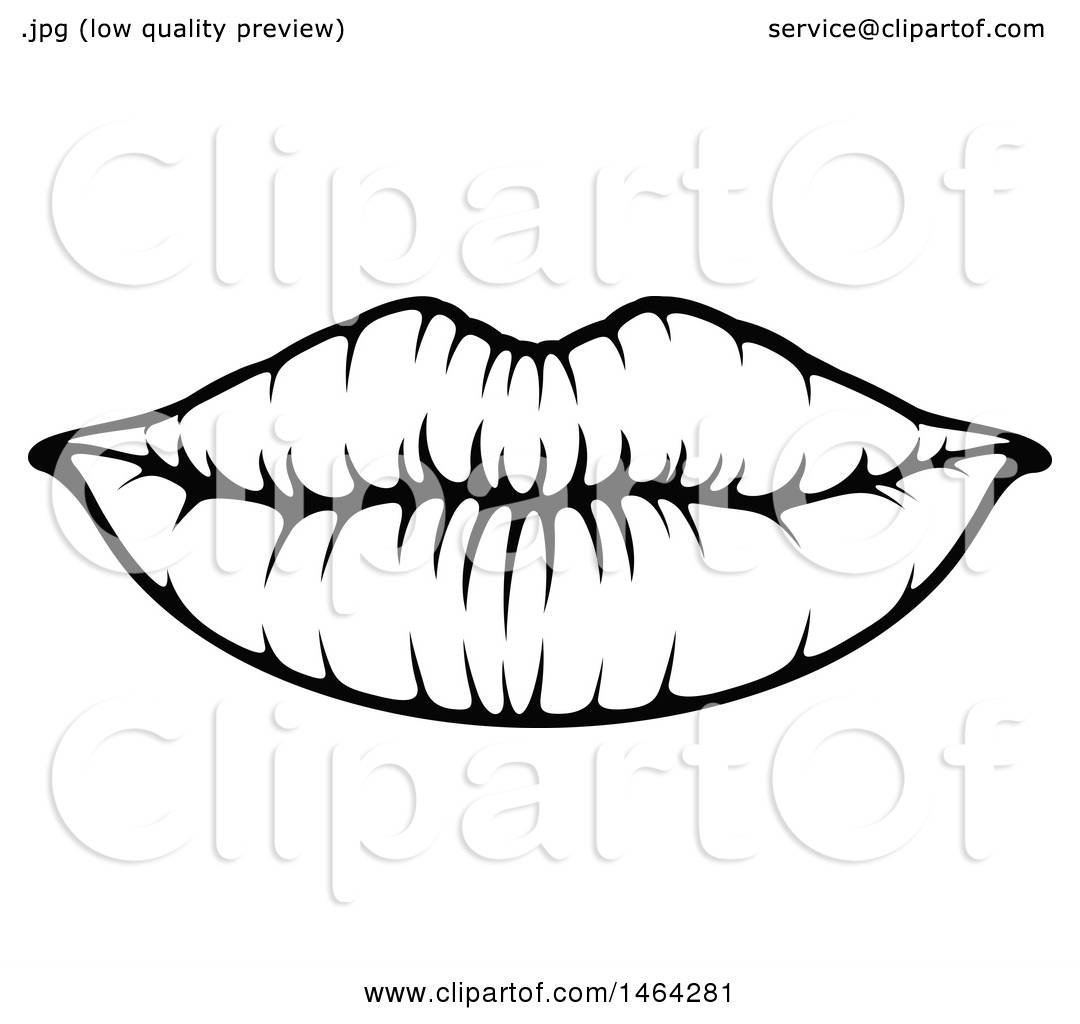Clipart Of Black And White Lips