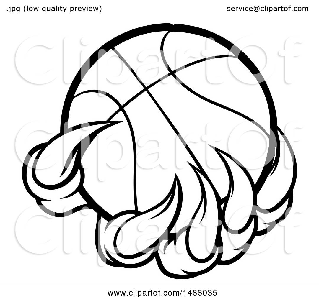 Clipart Of Black And White Monster Or Eagle Claws Holding