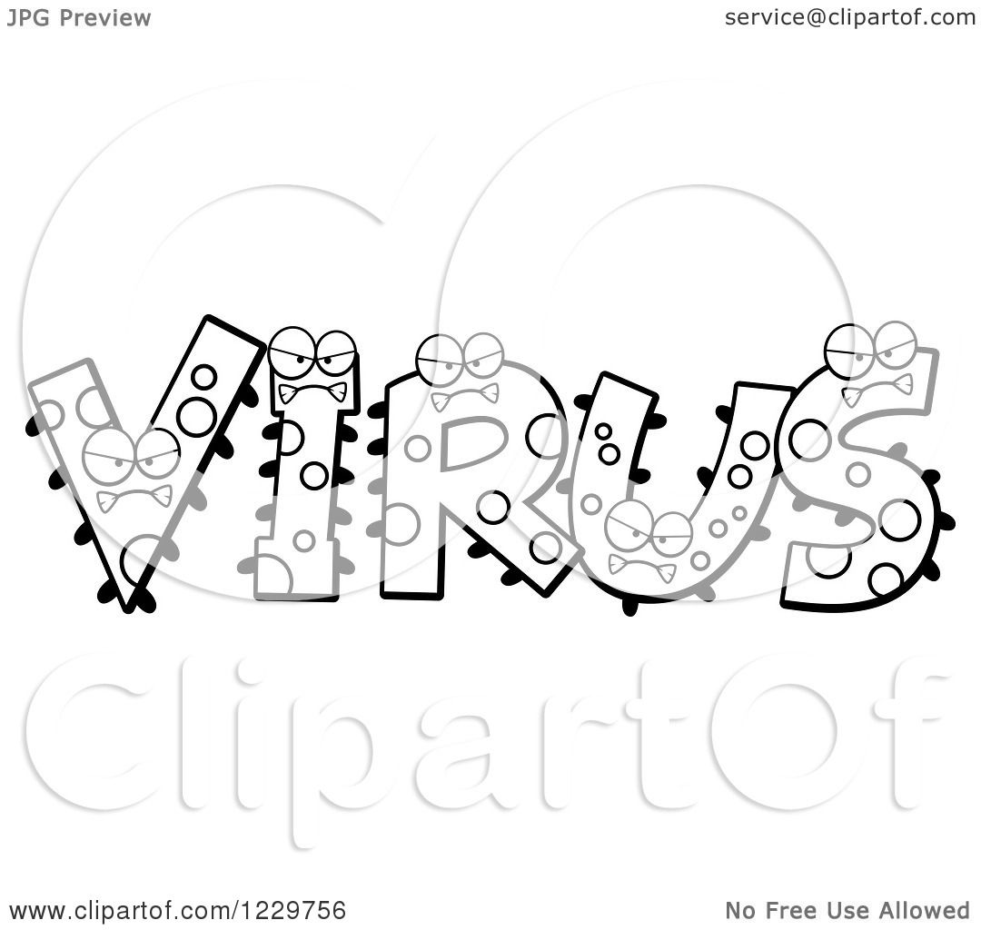 Clipart Of Black And White Monsters Forming The Word Virus