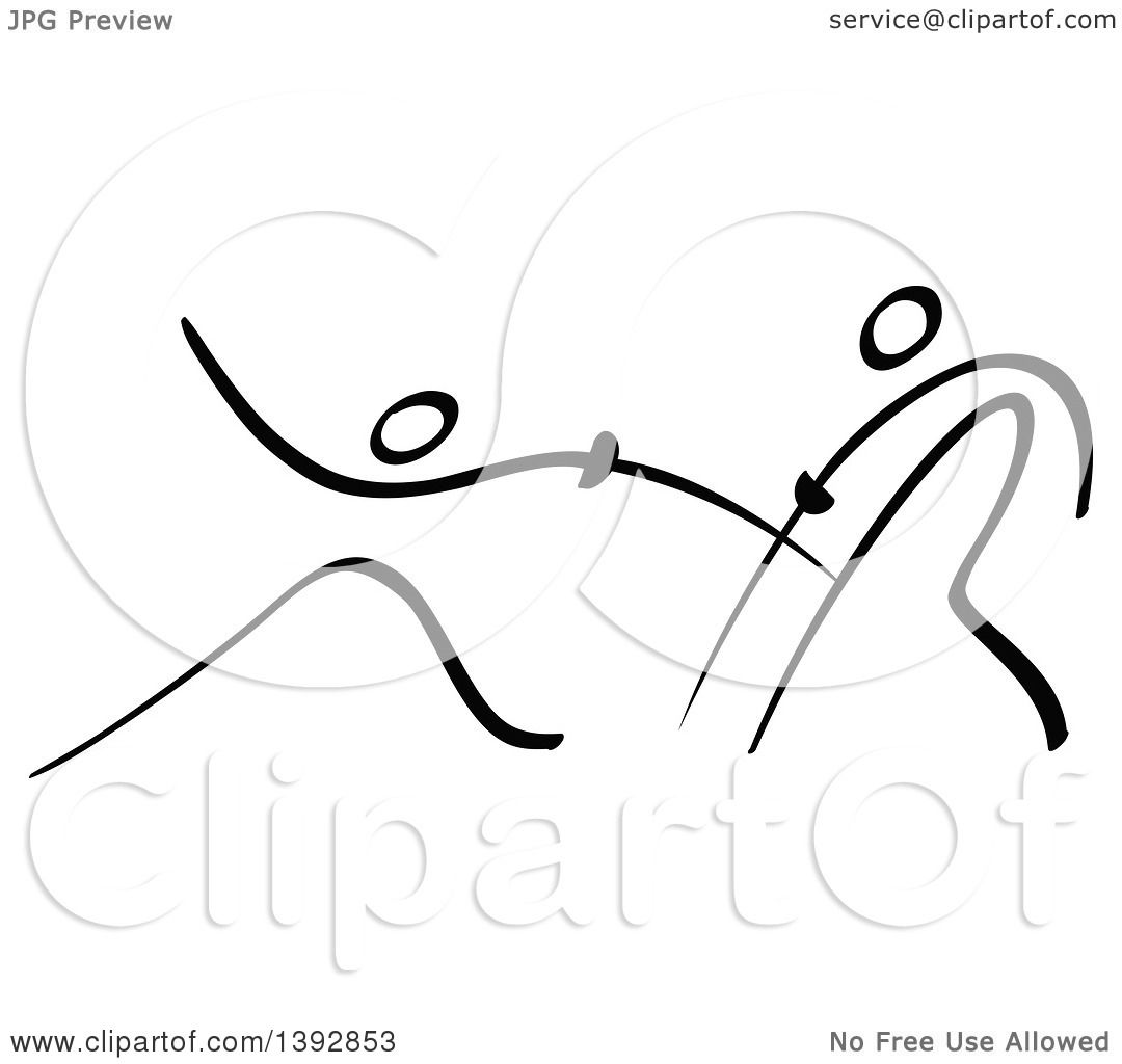 Clipart Of Black And White Olympic Stick Men Fencing