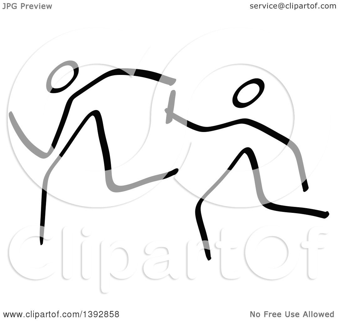 Clipart Of Black And White Olympic Track And Field Stick