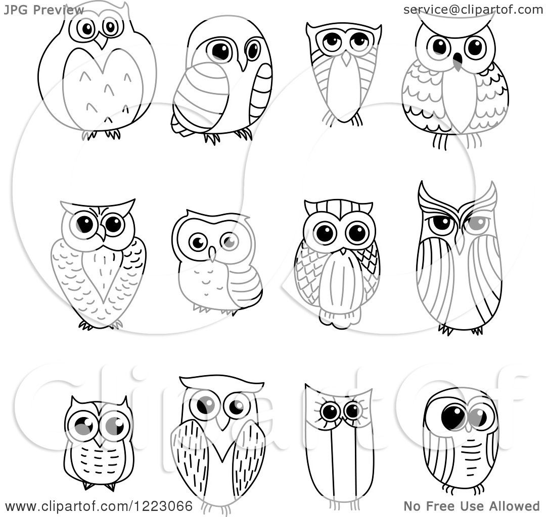 Clipart Of Black And White Owls