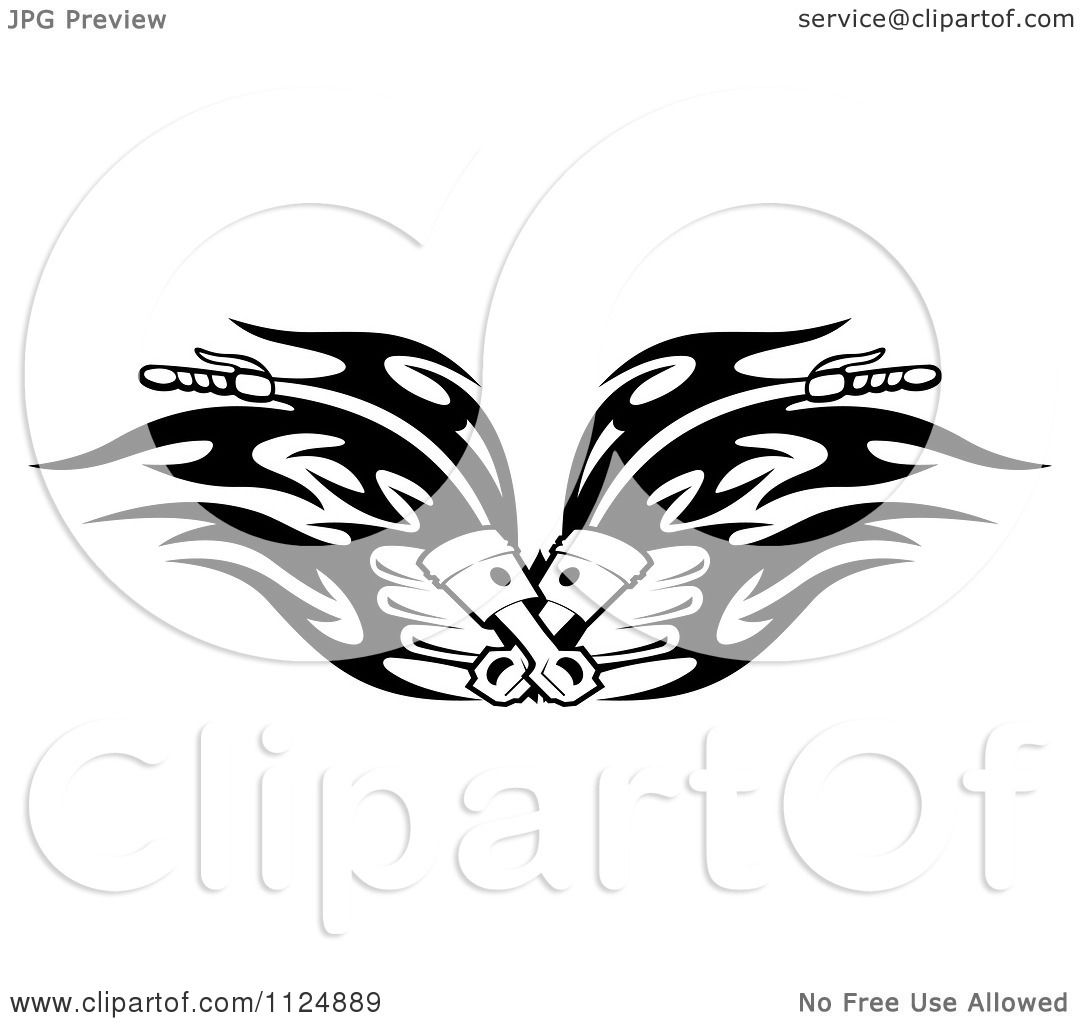 Clipart Of Black And White Piston Tribal Flaming