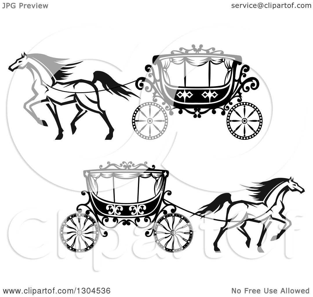 Clipart Of Black And White Prancing Horses Wedding