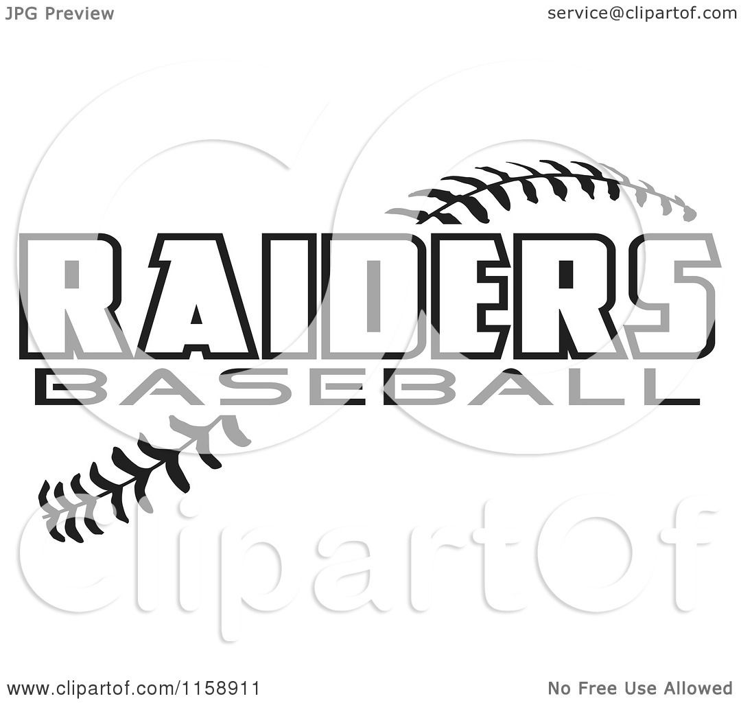 Clipart Of Black And White Raiders Baseball Text Over