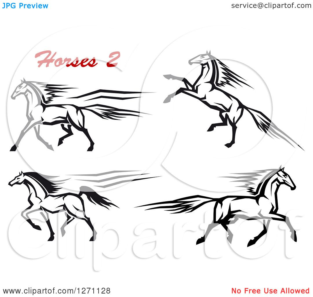 Clipart Of Black And White Rearing And Running Horses With