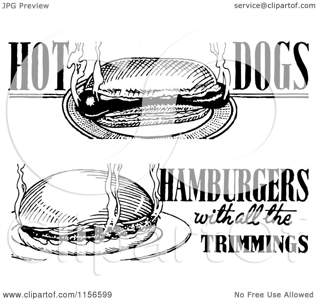 Clipart Of Black And White Retro Hot Dog And Hamburger