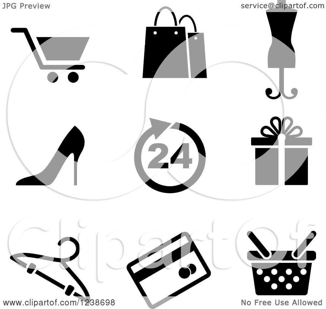 Clipart Of Black And White Shopping Retail Icons