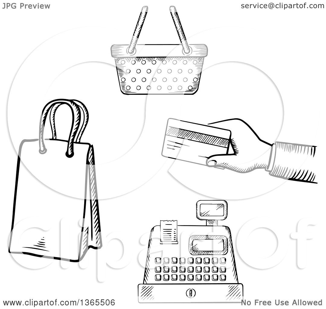 Clipart Of Black And White Sketched Hand Holding A Credit