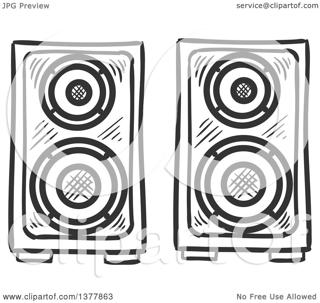 Clipart Of Black And White Sketched Music Speakers