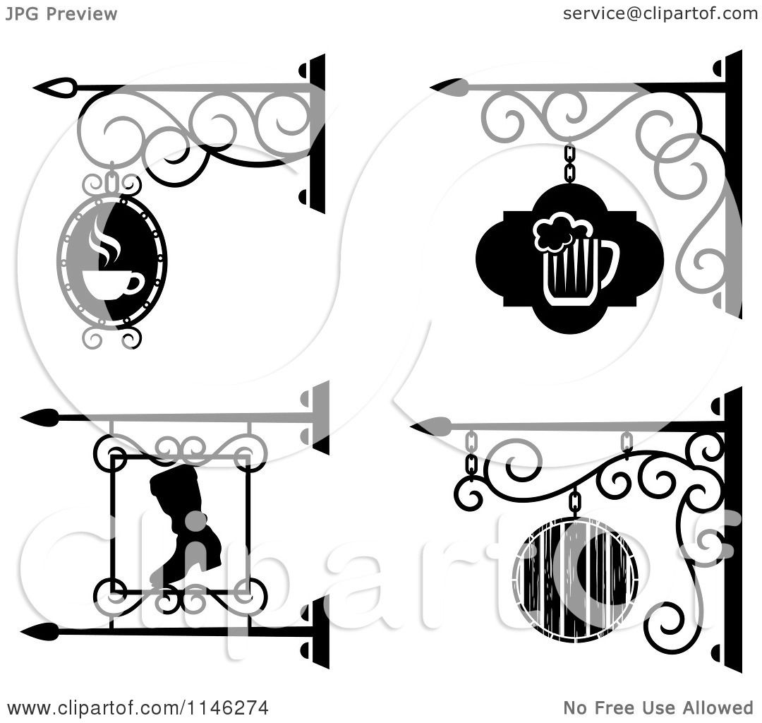 Clipart Of Black And White Storefront Bar Pub And Workshop