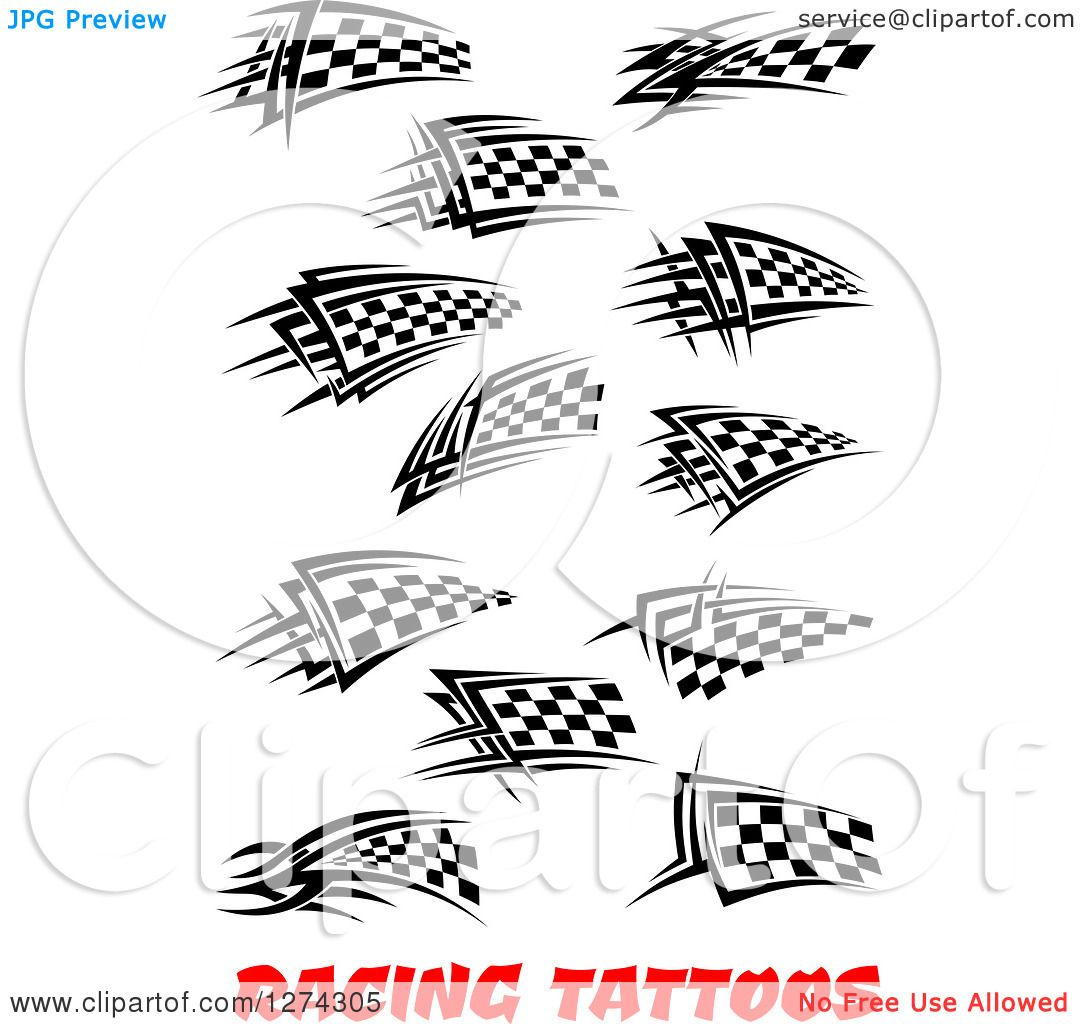 Clipart Of Black And White Tribal Checkered Racing Flags