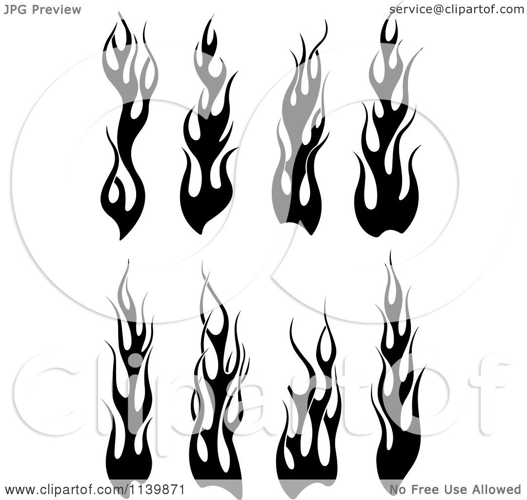 Clipart Of Black And White Tribal Flames