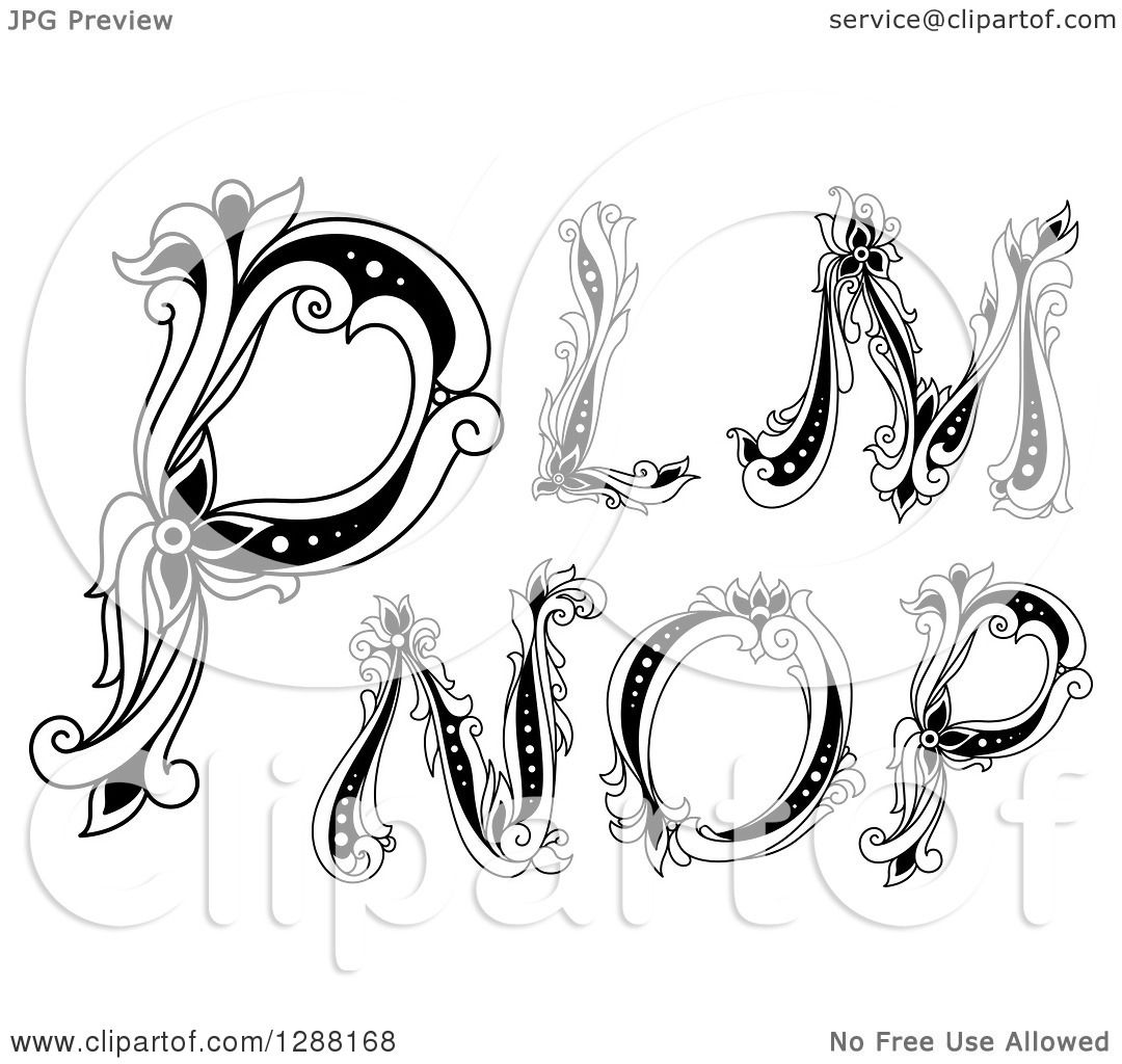 Clipart Of Black And White Vintage Floral Capital Letters