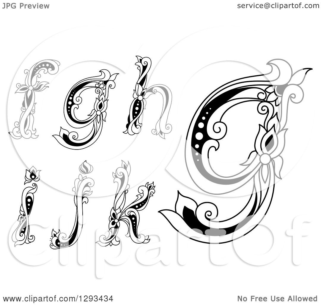 Clipart Of Black And White Vintage Lowercase Floral