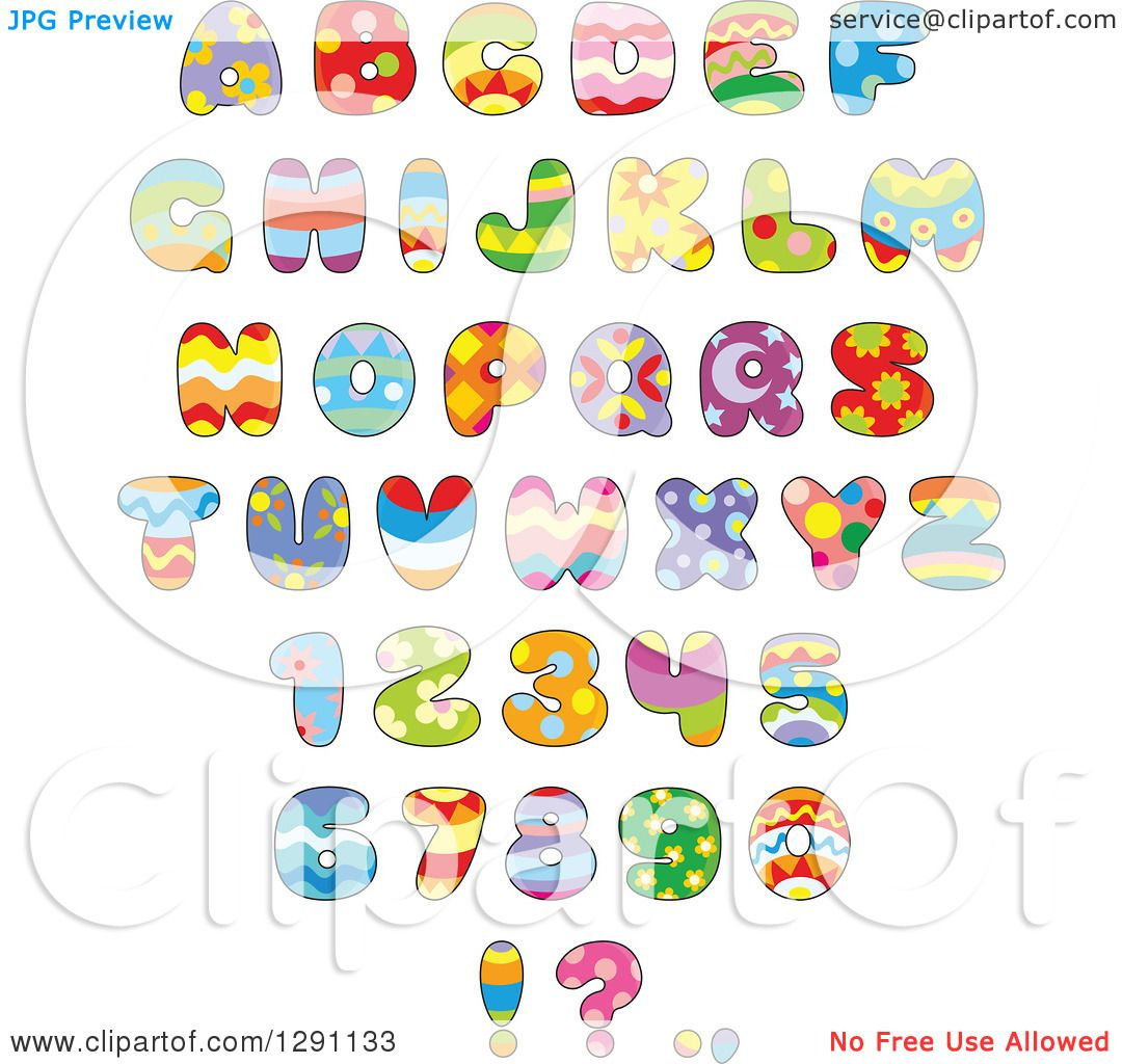 Clipart Of Colorful Funky Patterned Easter Themed Alphabet Letters Numbers And Punctuation