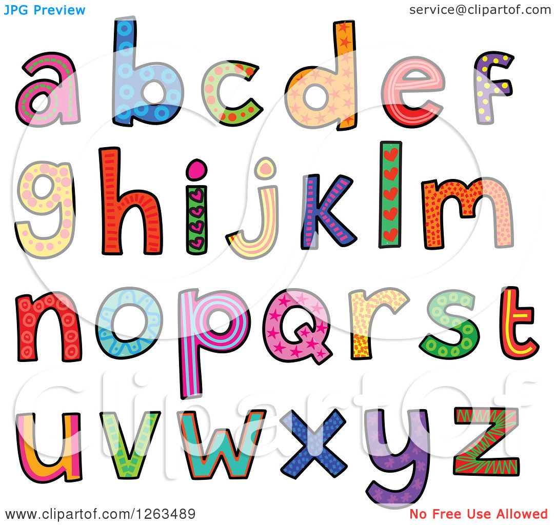 Clipart Of Colorful Patterned Alphabet Letters