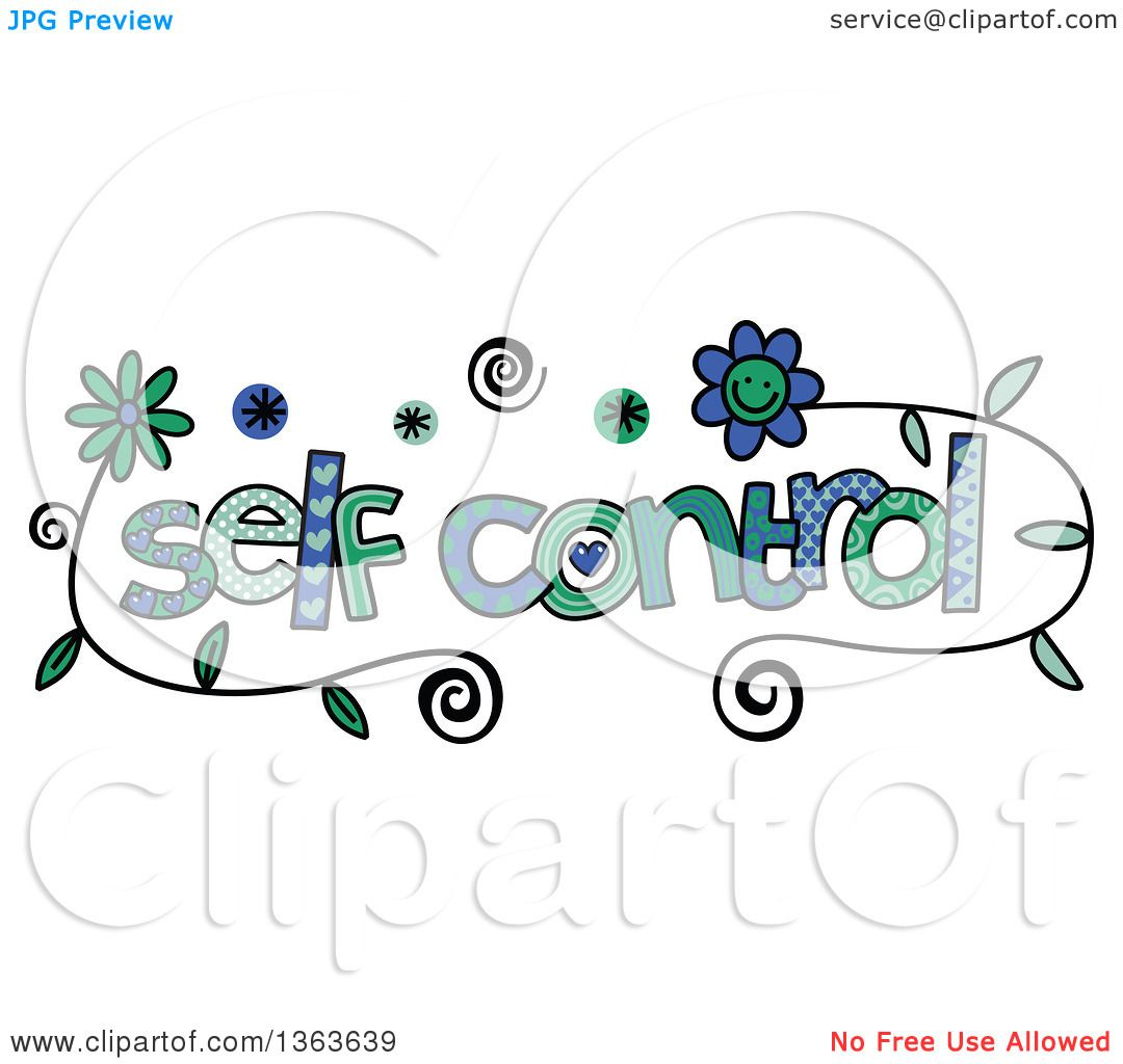 Clipart Of Colorful Sketched Self Control Word Art