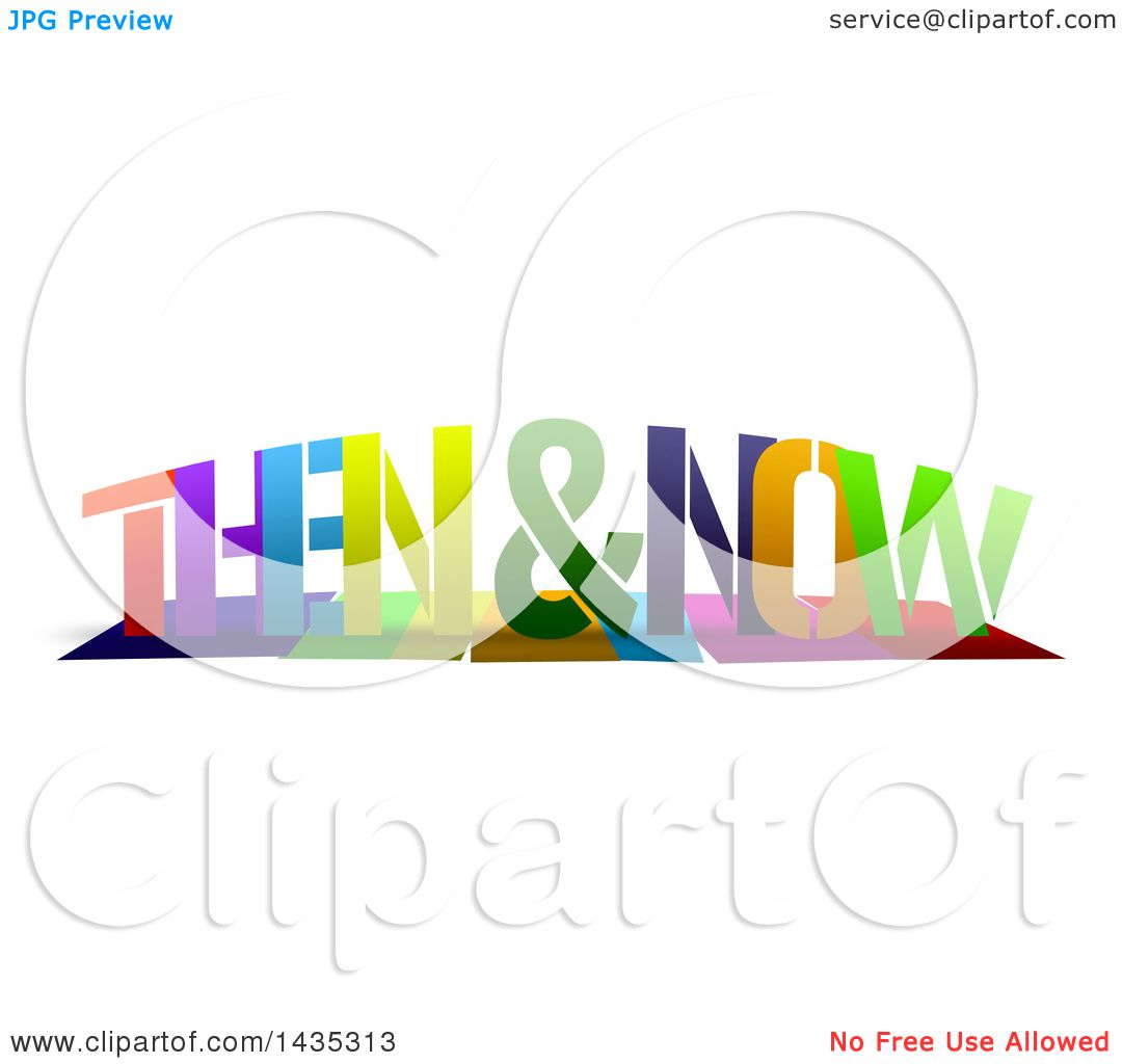 Clipart Of Colorful Words Then And Now With Shadows On