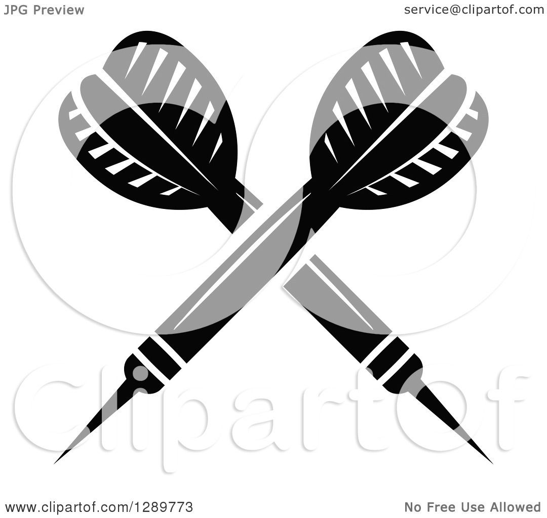 Clipart Of Crossed Black And White Throwing Darts 2
