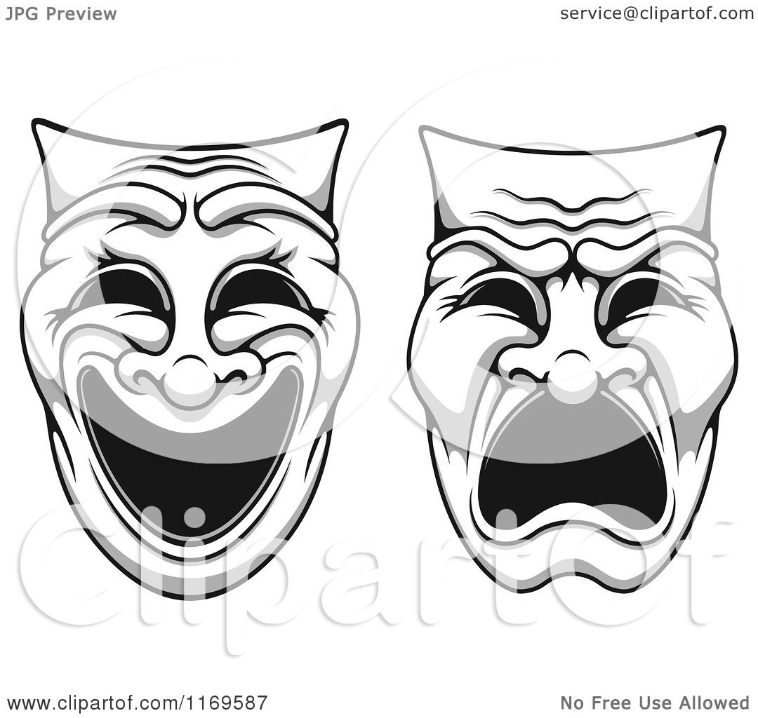Clipart Of Grayscale Comedy Drama Theater Masks 2