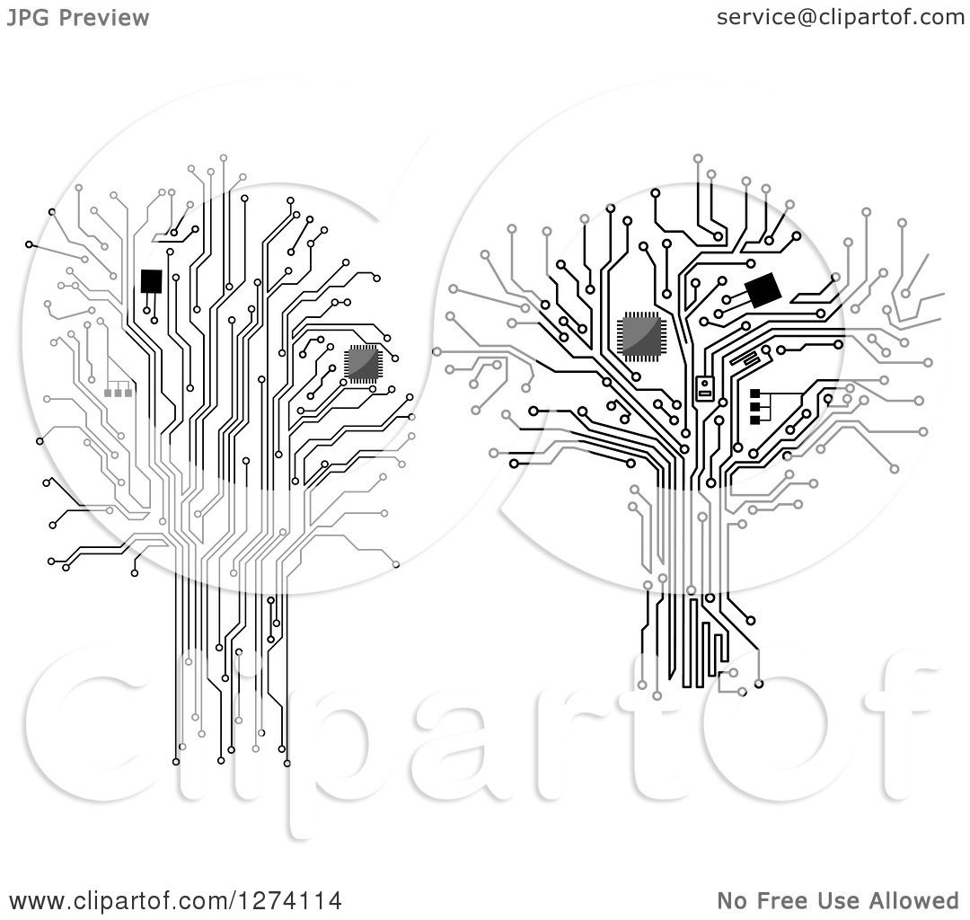 Clipart Of Grayscale Computer Chip And Circuit Trees