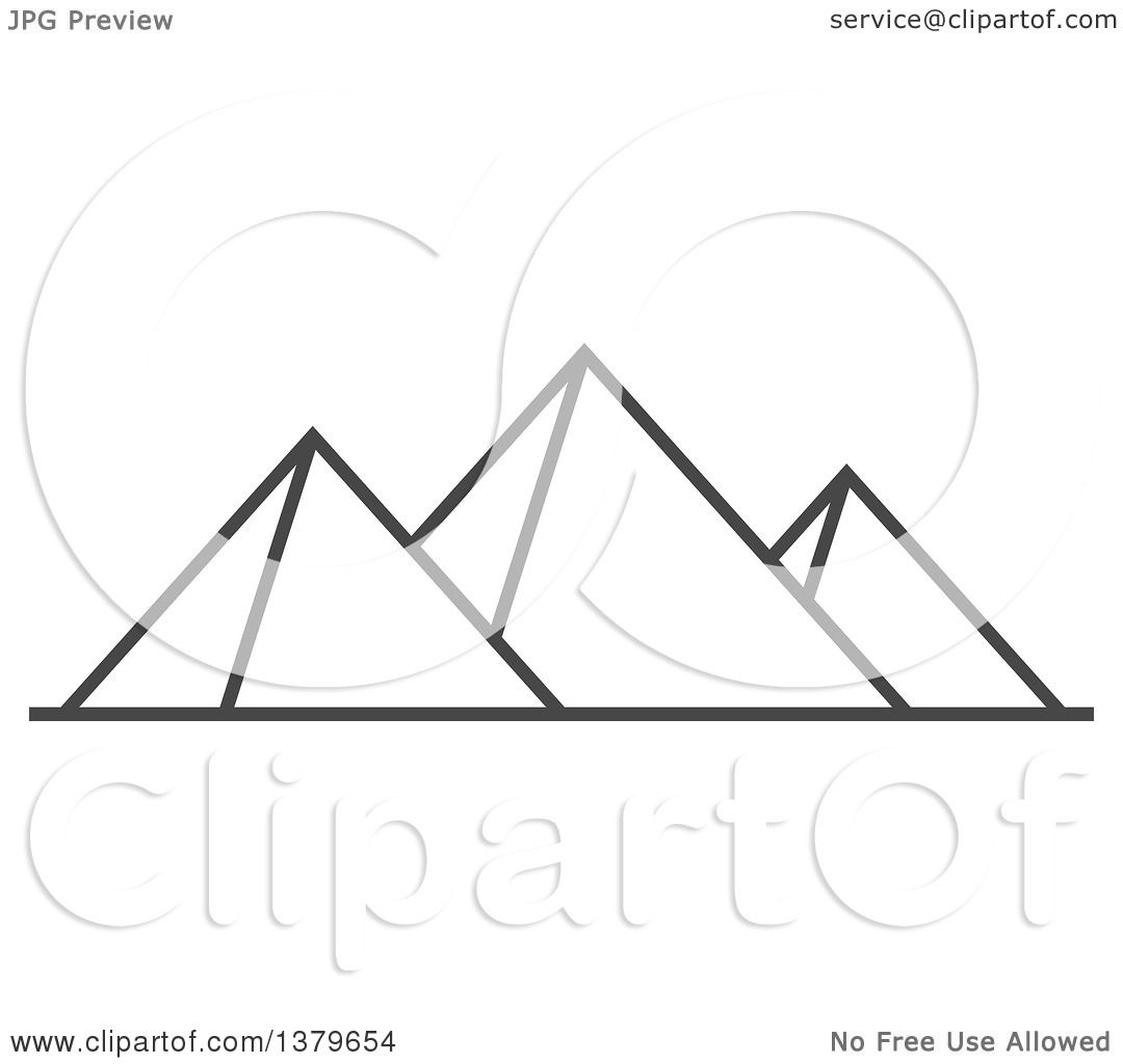 Clipart Of Grayscale Egyptian Pyramids
