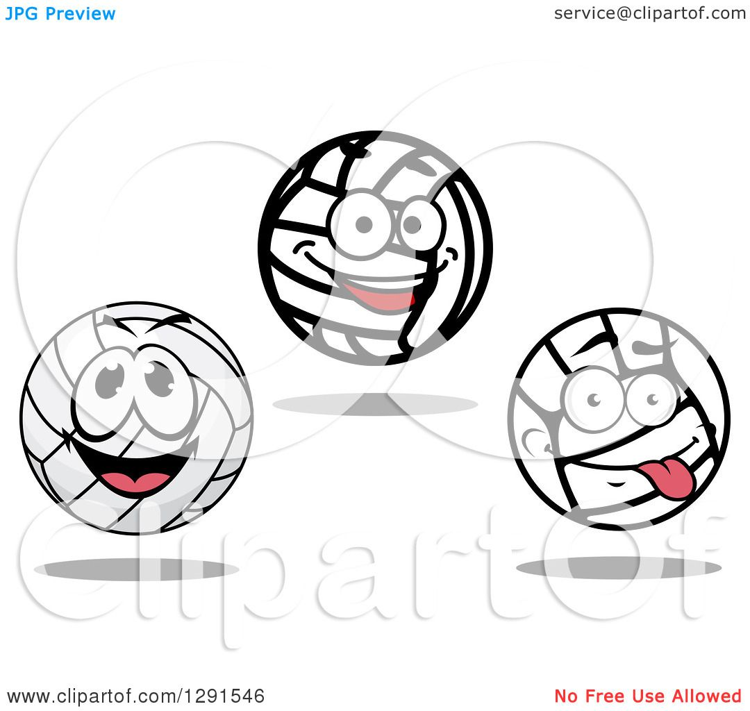 Clipart Of Happy And Goofy Volleyball Characters