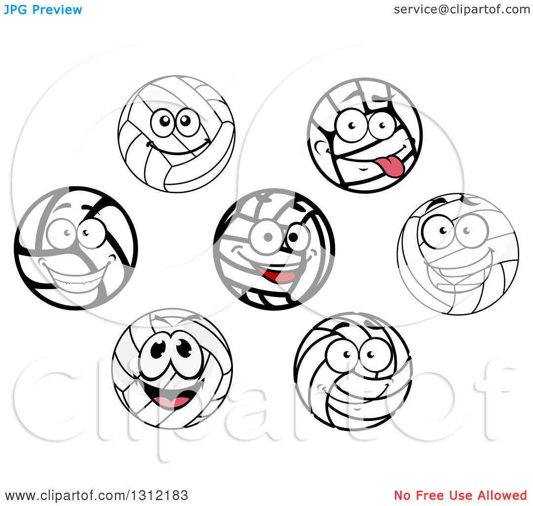 Clipart Of Happy Volleyball Characters