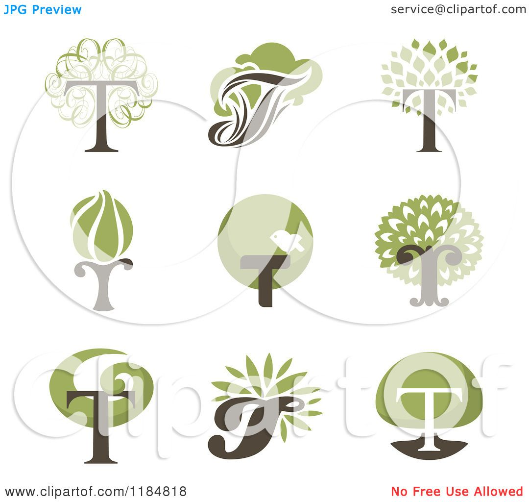 Clipart Of Letter T Tree Designs