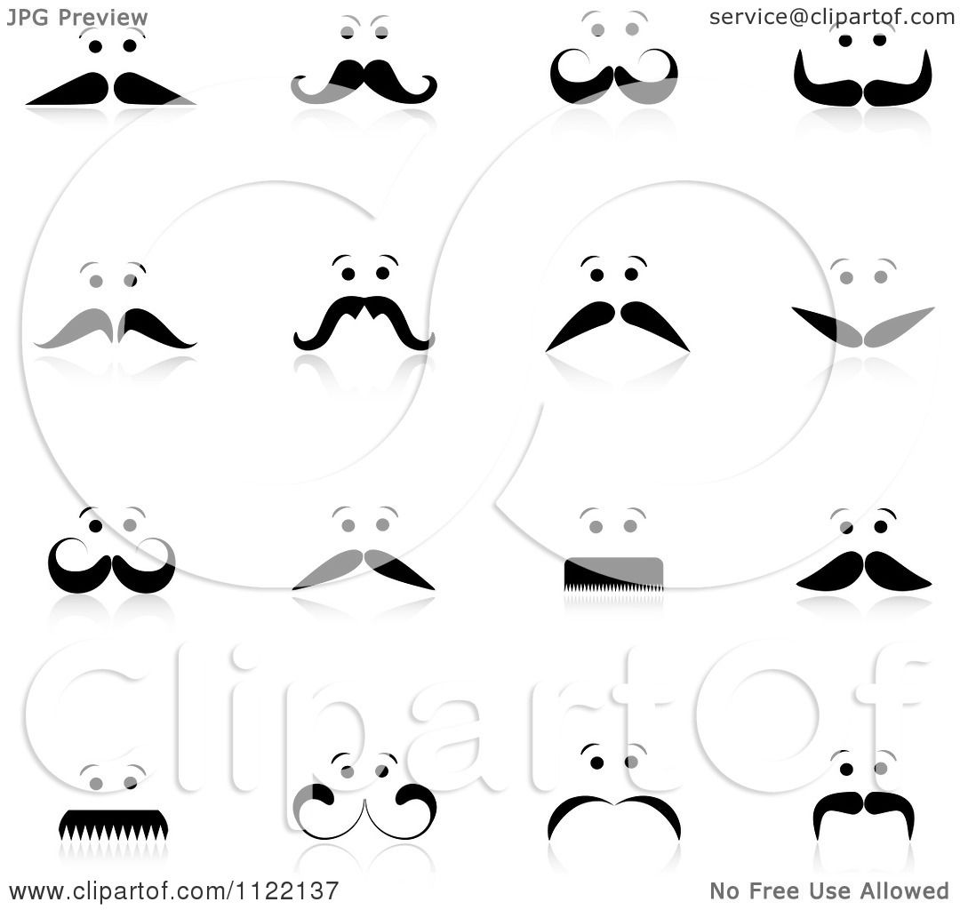 Clipart Of Mens Faces With Mustaches And Reflections